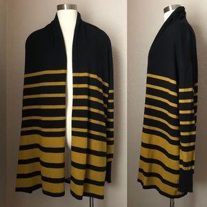 NEW Striped Open Front Cardigan w/ Shawl Neckline